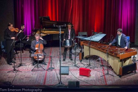 Andy Akiho joined other Chamber Music Northwest musicians at Alberta Rose Theatre. Photo: