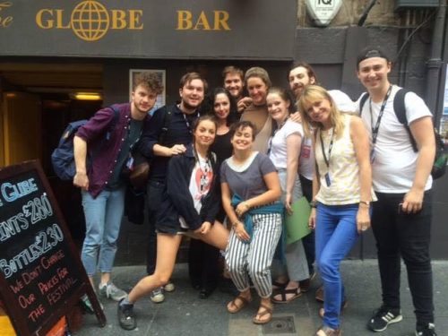 Denfeld in Edinburgh with members of the theater group Pharmacy.