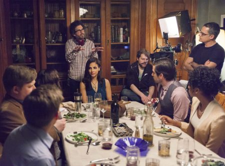 """Director Joshua Marston and cast on the set of """"Complete Unknown"""""""