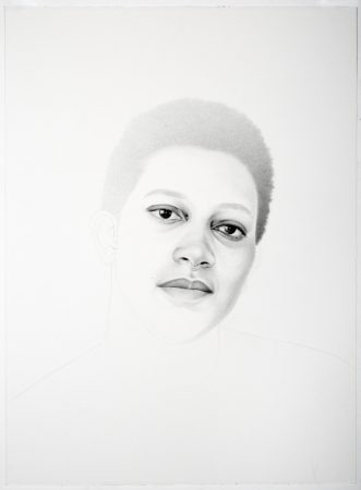 """Samantha Wall,""""Ann-Derrick"""", 2016, graphite on paper, 30 x 22 inches/Courtesy Laura Russo Gallery"""