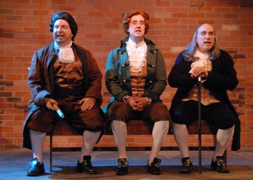 Formidable trio: from left, Darius Pierce (John Adams), Adam Elliott Davis (Thomas Jefferson), Mark Pierce (Ben Franklin). Triumph Photography