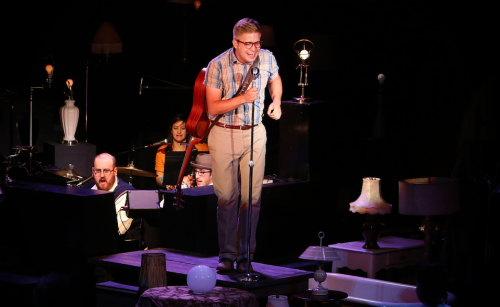 Musical director Jon Quesenberry (left) and band with Benjamin Tissell. Photo: Craig Mitchelldyer