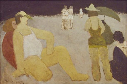 """Milton Avery, """"Bathers, Coney Island,"""" 1934, oil on canvas, 32 x 48 inches, Portland Art Museum"""