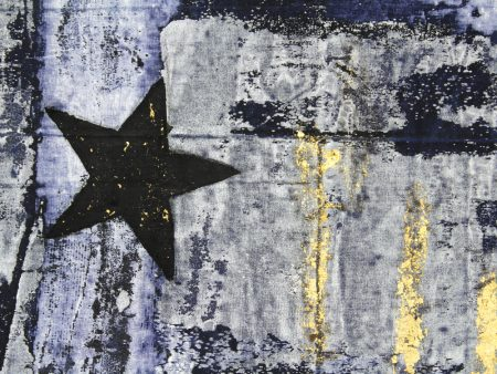 """Modou Dieng, detail from 'Goodbye Blue Sky...', acrylic and gold leaf on European Flag and denim, 2016, 61.75 x 39.5""""/Courtesy of Nationale"""