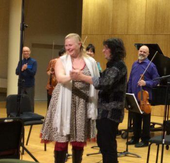 Miksch and Bluestone at FearNoMusic's performance of her music earlier this year.