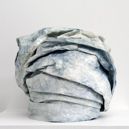 """Bukola Koiki, Tyvek Gele I, (from the series """"I Claim That Which Was Never MIne""""), Tyvek, natural indigo and thread, 2014 /Courtesy of Nationale"""