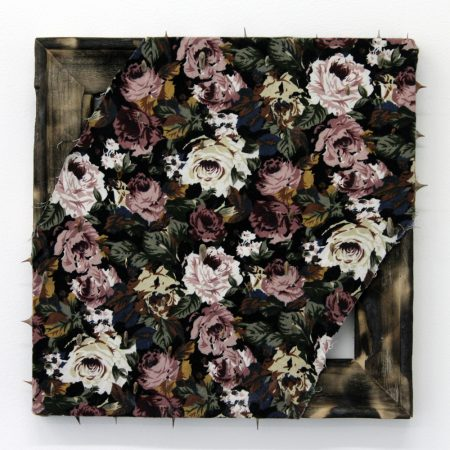 Angelica Millan, Espinas VI, Thorns on burnt fabric and wood, 2016/Courtesy Nationale