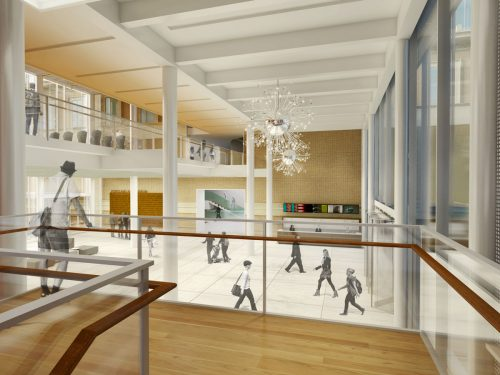 Rendering of the pavilion from its open stairs.