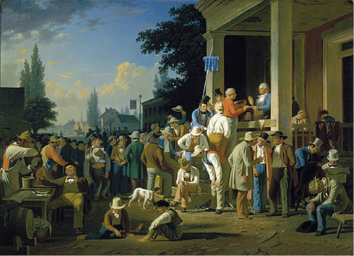 """""""The County Election,"""" George Caleb Bingham, 1852, oil on canvas, 38 x 52 inches, Saint Louis Art Museum"""