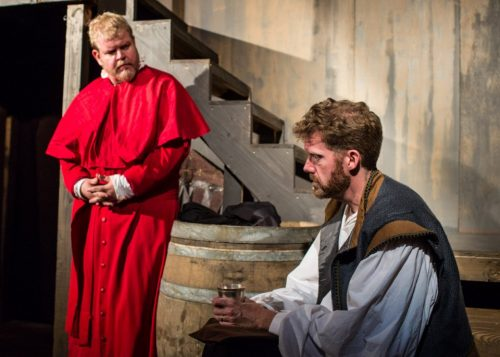 """Bill Cain's """"Equivocation,"""" directed by Paul Angelo and featuring Todd Van Voris (left) and Keith Cable, was a hit for Post5 in September 2015. Russell J Young photo"""
