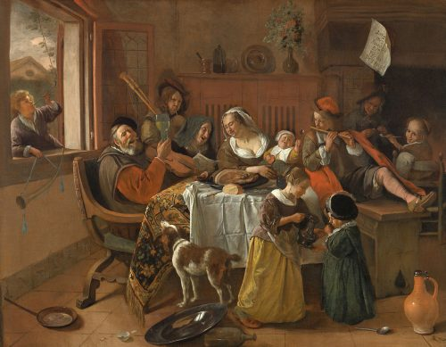 """No, this is not the family in """"The Humans."""" But things do get rowdy. Jan Steen, """"The Merry Family,"""" 1668, oil on canvas, 43.5 x 55.5 inches, Rijksmuseum, Amsterdam / Wikimedia Commons."""