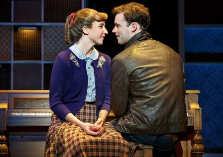 """Queens College. Julia Knitel (""""Carole King"""") and Liam Tobin (""""Gerry Goffin"""") in 'Beautiful.' Photo: Joan Marcus."""