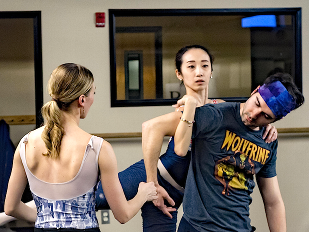"""Suzanne Haag (left) coaches Reed Souther and Yuki Beppu in """"Surrounding Third."""" Photo by Antonio Anacan"""
