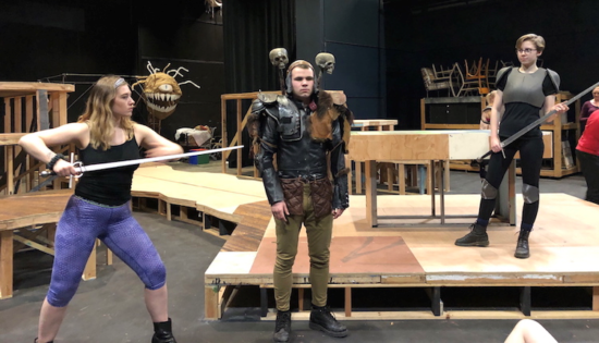 """Linfield College students (from left) Kendall Harrison as Agnes, Calder Ifft as D & D Monster, and Lucy Gordon as Tillius the Great Paladin, in Qui Nguyen's """"She Kills Monsters,"""" which opens March 13. Photo courtesy: Linfield College"""