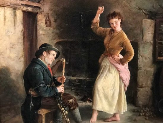 """Detail from """"The Irish Piper"""" by William Oliver Williams, 1874, oil on canvas, Ireland's Great Hunger Museum, Quinnipiac University, Connecticut"""