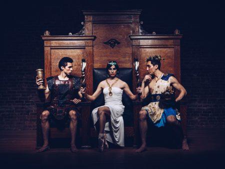 Gustavo Ramirez, Ashley Bontrager, Jim Ballard in Cleopatra. Photo by Bob Williams + Stephanie Urso