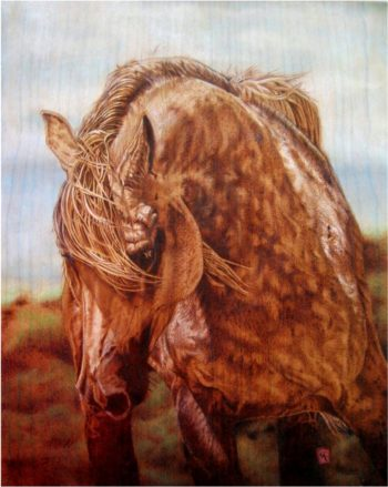 """Cynthia Longhat-Adams of Depoe Bay is a multi-media artist whose work frequently focuses on nature and animals, such as """"Appaloosa.""""  She is participating in this weekend's Art on the Edge Studio Tour."""