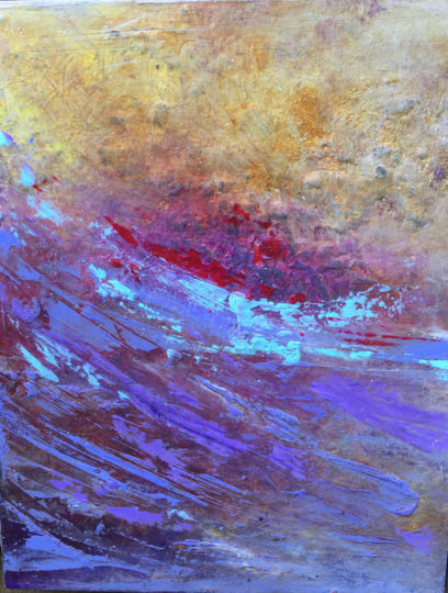 "Lynne Wintermute will be showing oil and cold wax paintings, such as ""Washed Ashore,"" in her Neskowin studio."
