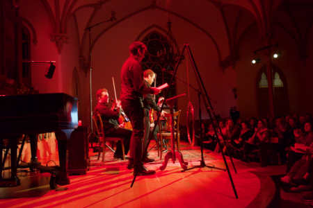 Nicholas Yandell and Pyxis Quartet perform at The Old Church in 2018. Photo by Milton Bliss.
