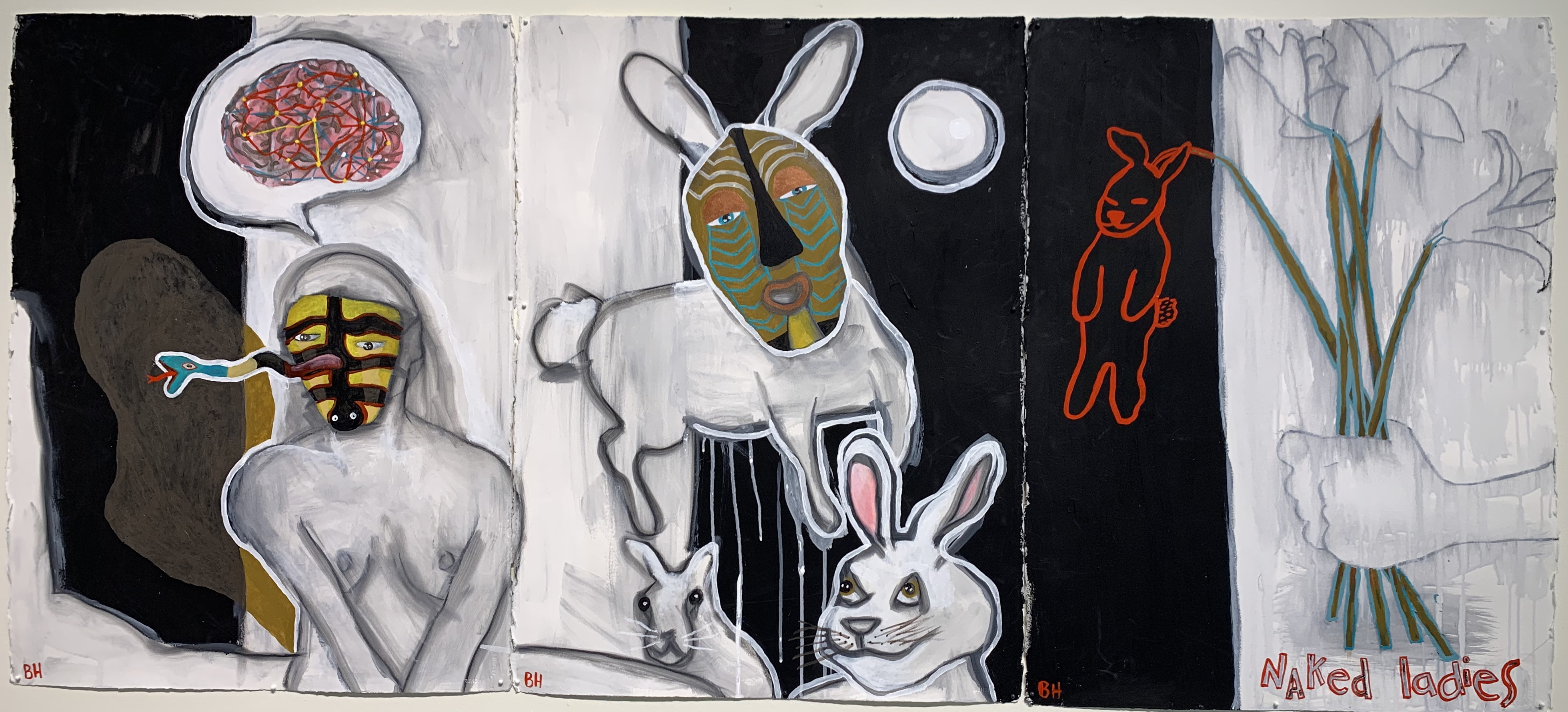 """Bonnie Hull's """"Fort Bragg Trio"""" (acrylic on paper) consists of (from left): """"The Tracks of My Tears,"""" """"Trickster Moon,"""" and """"Naked Ladies."""" Photo by: David Bates"""