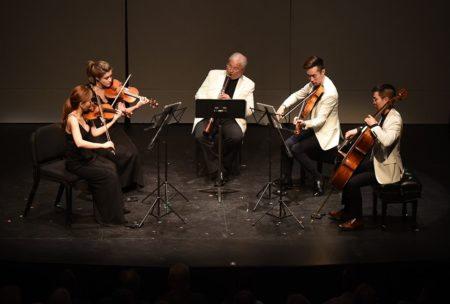 David Shifrin and Ralston String Quartet play Mozart. Photo by Jonathan Lange.
