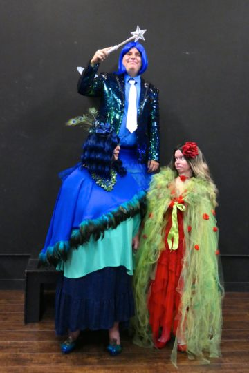 Rochette, Mulligan, and Plass in costume.