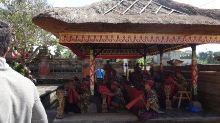 Gamelan orchestra accompanying dancers in Pemaksan Barong Denjalan temple. Photo by Sean Steward.