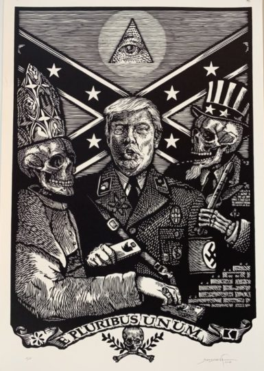 """""""E PLURIBUS UNUM,"""" by Carlos Barberena (linocut on HW paper, 40 by 30 inches)."""