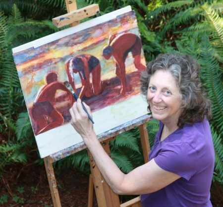 Painter Kathleen Buck says she sometimes gets invaluable feedback from visitors during the Art Harvest tours to her studio. Photo courtesy: Kathleen Buck