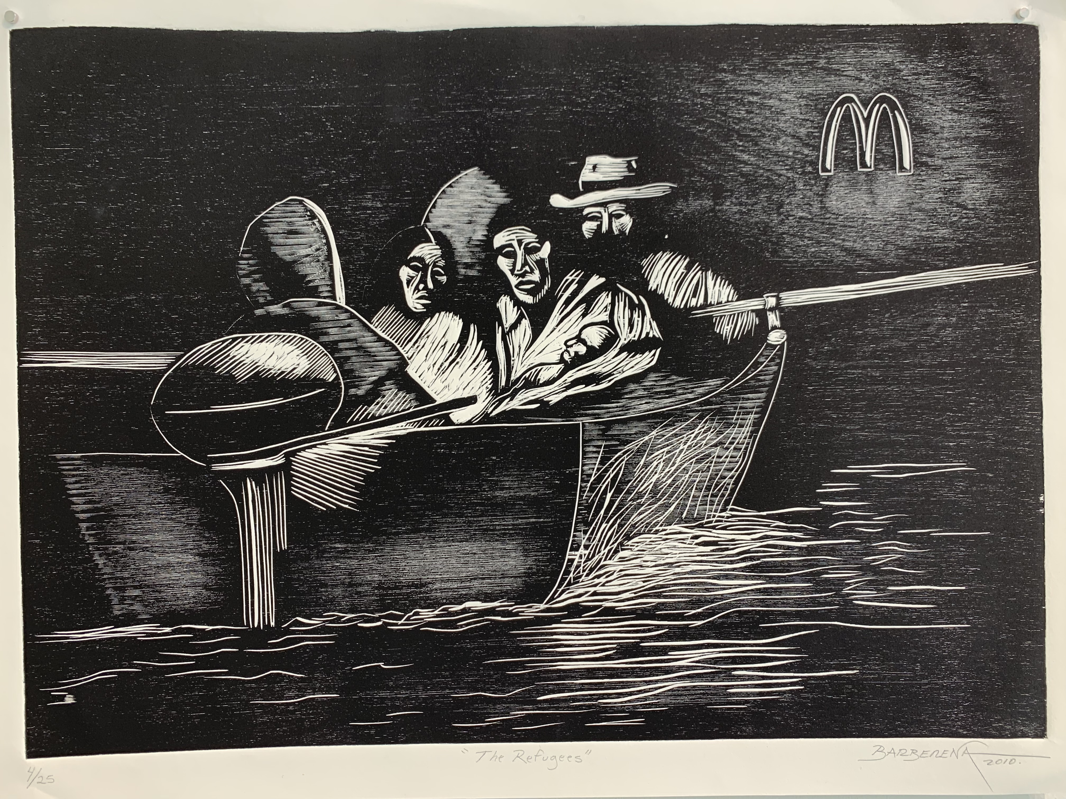 """""""The Refugees,"""" by Carlos Barberena (woodcut on HW Rives Paper, 24 by 18 inches)."""