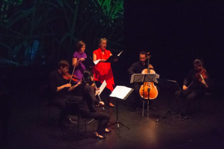 Delgani String Quartet and singers Laura Wayte and Gretchen Farrar rehearsing Anice Thigpen's 'What Death Can Touch.' Photo by Kelli Matthews.