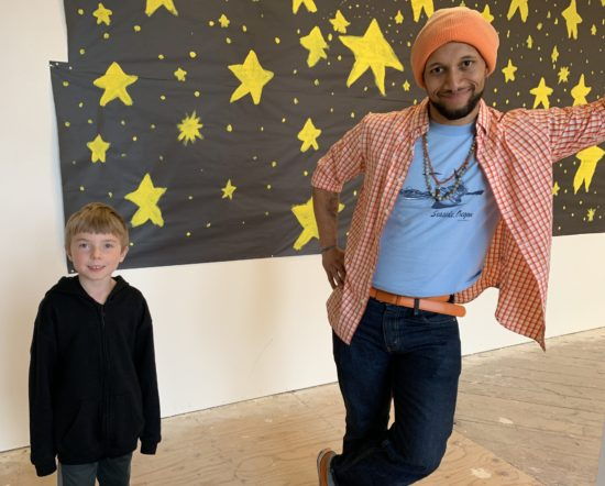 Finn Connaughton, 6, and Artist Michael Bernard Stevenson Jr., 32, collaborated on an other-worldly exhibit on display through Oct. 31 at the Chehalem Cultural Center. Photo by: David Bates