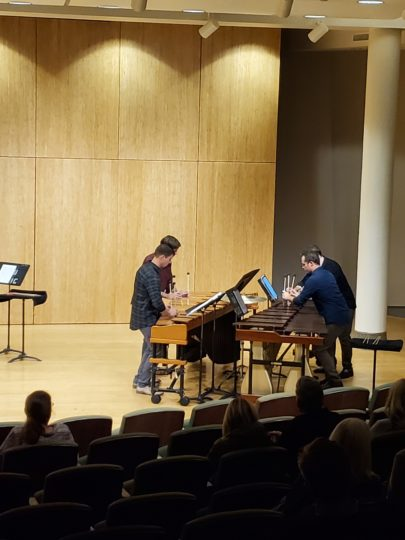 Portland Percussion Group performed Ben Justis' 'Nucleation' in Lincoln Recital Hall. Photo by Happi Yi.