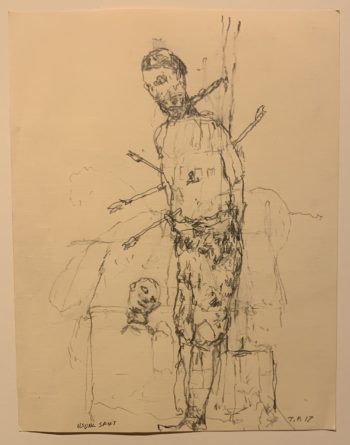 """Usual Saint"" is among drawings by Tom Prochaska. Photo by: David Bates"