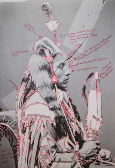 "Wendy Red Star's ""Peelatchiwaaxpáash/Medicine Crow (Raven),"" from the series ""1880 Crow Peace Delegation"" (artist-manipulated digitally reproduced photograph by C.M. (Charles Milton) Bell, National Anthropological  Archives, Smithsonian Institution, pigment print on archival photo paper,  2 sheets, 16-15/16 by 11-15/16 inches each). Photo courtesy of the artist"