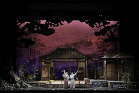 Nina Yoshida Nelsen as Suzuki and Hiromi Omura as Cio-Cio-San in Portland Opera's 2019 production of Puccini's Madama Butterfly. Photo by Cory Weaver/Portland Opera.