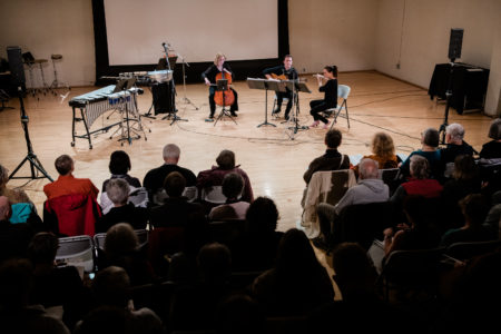 "Mario Díaz, Sarah Tiedemann, Valdine Mishkin, Chris Whyte performed on Third Angle's ""Homecomings"" concert at New Expressive Works, October 2017. Photo by Kenton Waltz."