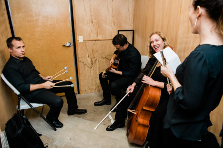 "Mario Díaz, Sarah Tiedemann, Valdine Mishkin, and Chris Whyte backstage duringThird Angle's ""Homecomings"" concert at New Expressive Works, October 2017. Photo by Kenton Waltz."