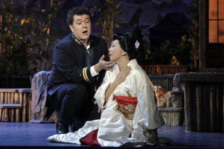 Luis Chapa as B.F. Pinkerton and Hiromi Omura as Cio-Cio-San in Portland Opera's 2019 production of Puccini's Madama Butterfly. Photo by Cory Weaver/Portland Opera.