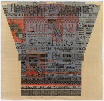 """Painting in orange and black gouache on off-white paper of newspaper-print sweater design, rendered in tiny dots in a large grid; design reads """"newspaper"""" and """"stop war"""", and contains images of broken bombs adorned with peace signs."""