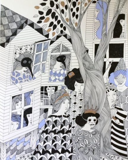Intricate ink drawing of women dressed in patterned gowns with masks and crowns, walking around trees and houses, in black and white with pale blue and gold accents.