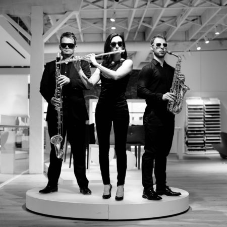 Left to right: James Shields, Sarah Tiedemann, Sean Fredenburg. Photo courtesy of Third Angle New Music.